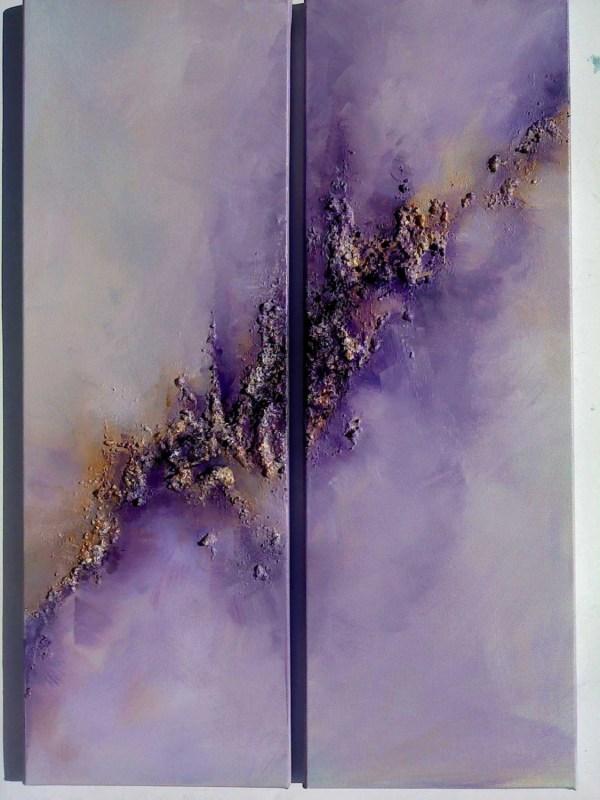 Purple Abstract Sky Art.original Diptych Modern