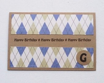 Monogram Birthday Card, Checked / Striped Birthday Card for Him