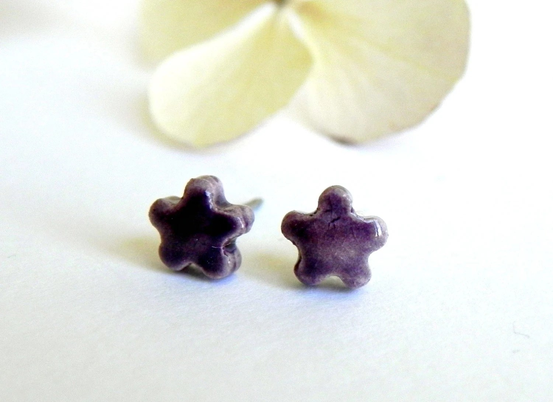 Tiny Purple Stud Earrings Eggplant Ceramic Flowers Pottery Jewelry Surgical Steel Posts - LemoneRouge