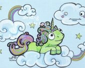 Dorkicorn Dorky Unicorn rainbow clouds sky kawaii silly fun Original lowbrow comic art illustration - zombietoes