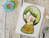 Spring postcard green flowers girl portrait - ireneagh