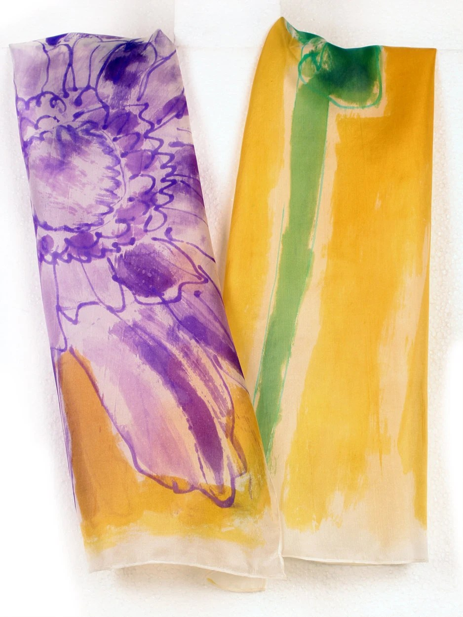 Hand painted silk scarf. Abstract flowers in yellow, purple and green.Luxury scarf.Bright colored scarf. Painting on silk by Dimo - klaradar