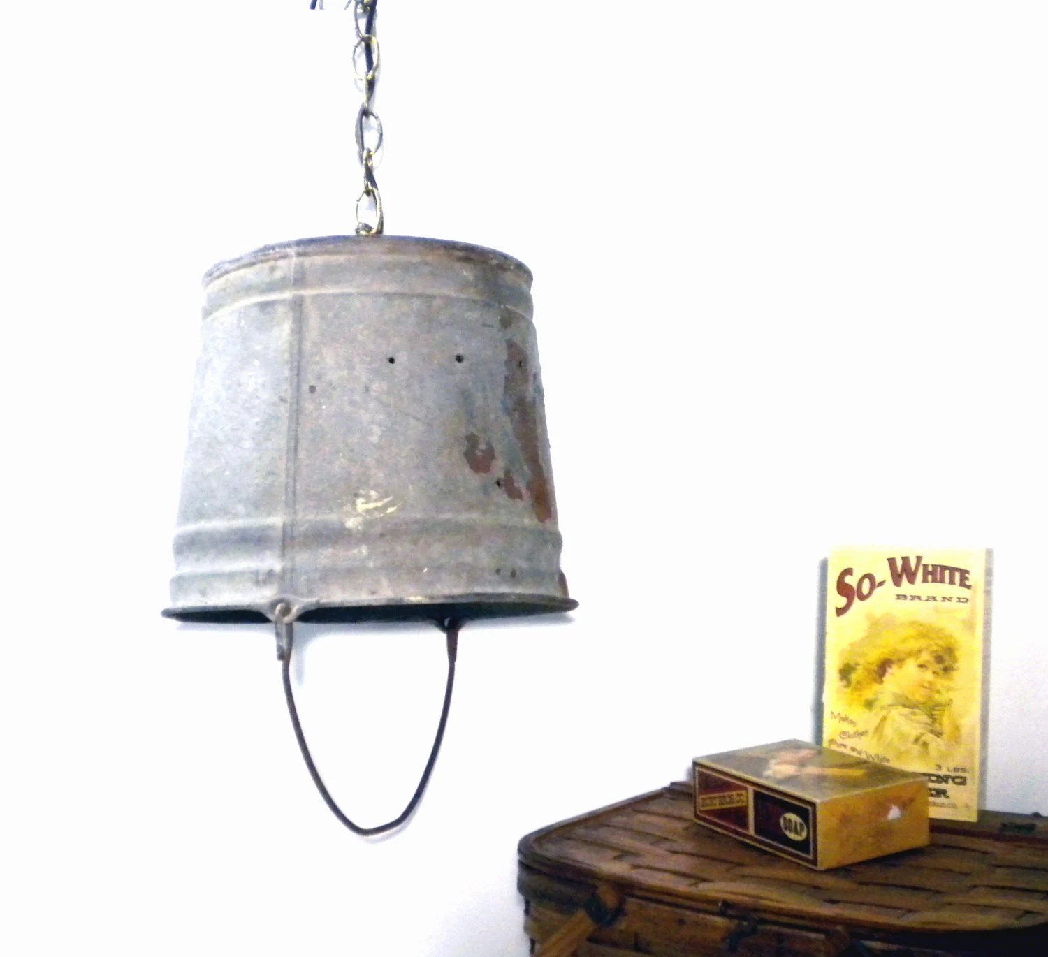 Wiring A Kitchen Light Fixture Vintage Swag Lamp Rustic Galvanized Metal Bucket Shade Light