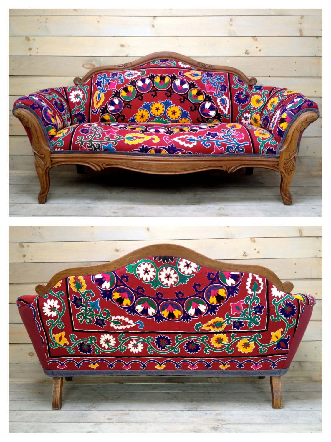 sofa upholstery fabric ideas mission style replacement cushions vintage carved settee reupholstered with antique red suzani