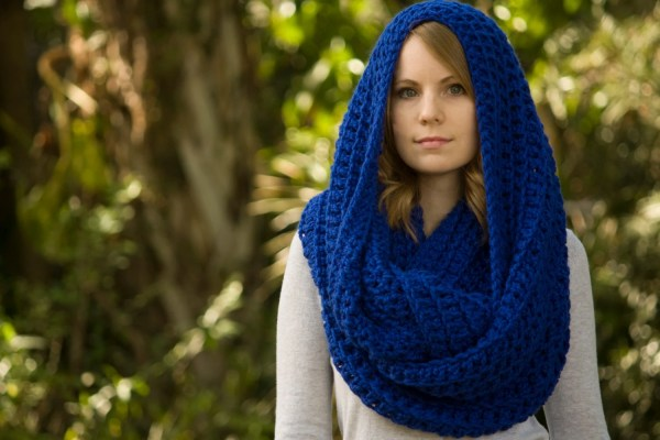 Royal Blue Infinity Scarf Oversized Hooded Scarf Chunky