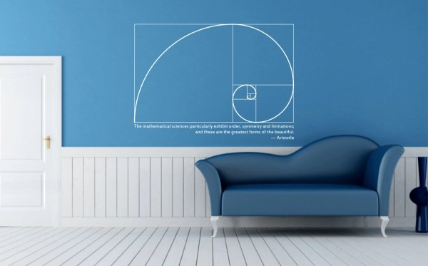 Science Art Mathematics Fibonacci Spiral & Aristotle Quote