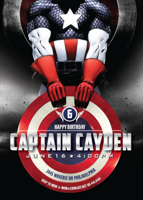 Captain America 5x7 Birthday Invitation