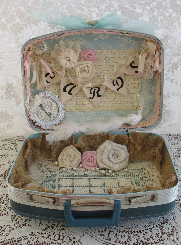 Vintage Suitcase Wedding Card Box Wedding Card Holder Shabby