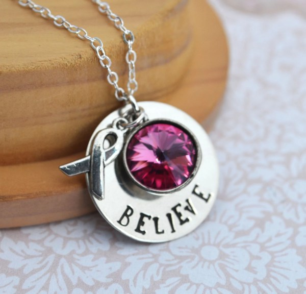 Breast Cancer Awareness Handstamped Necklace Personalized