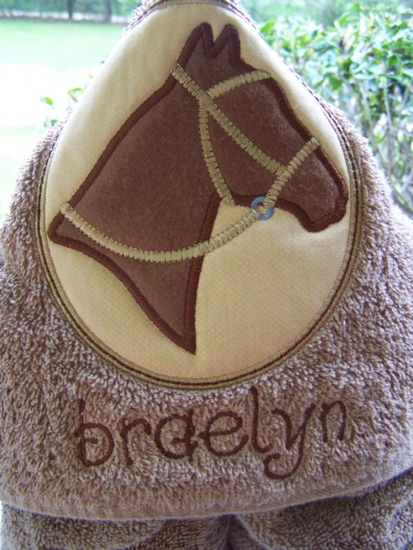 Horse Kids Hooded Bath Towel. Personalized Beach