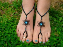 Black With Teal Flower Barefoot Sandals Slave Anklet Foot
