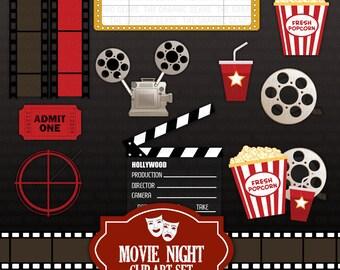 movie night clip art set - cinema