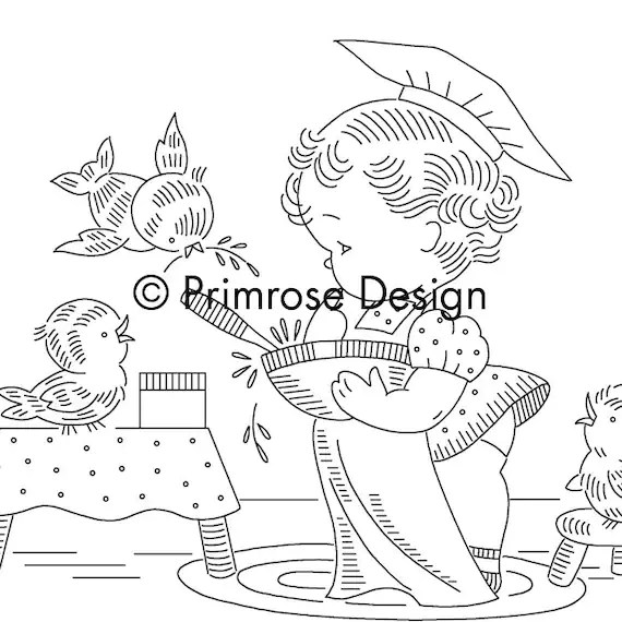 Vintage Hand-Embroidery Pattern PDF Little Girl Chef