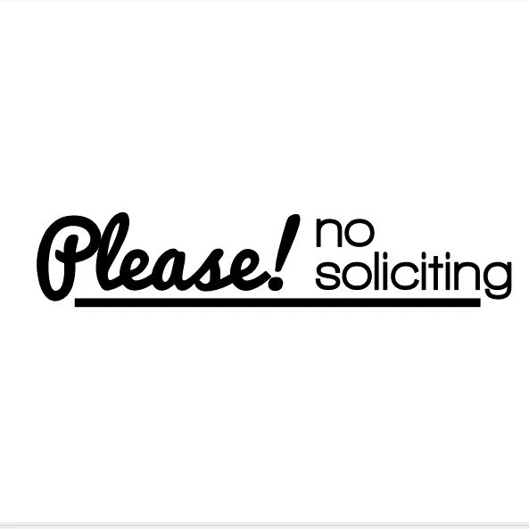 Please No Soliciting No Soliciting Vinyl Decal Retro Font