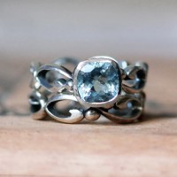Aquamarine engagement ring set aquamarine wedding by ...