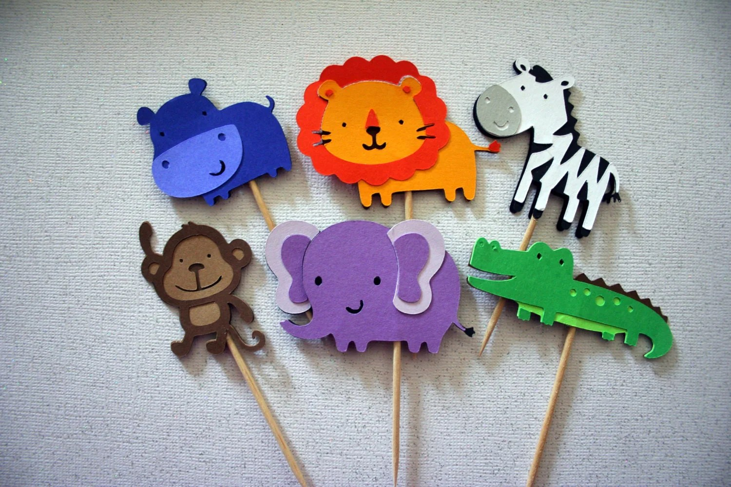 Jungle Safari Animal Cupcake Toppers Food Picks By