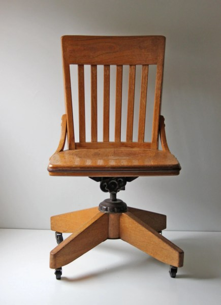 antique office chair reserved..vintage oak office chair on casters