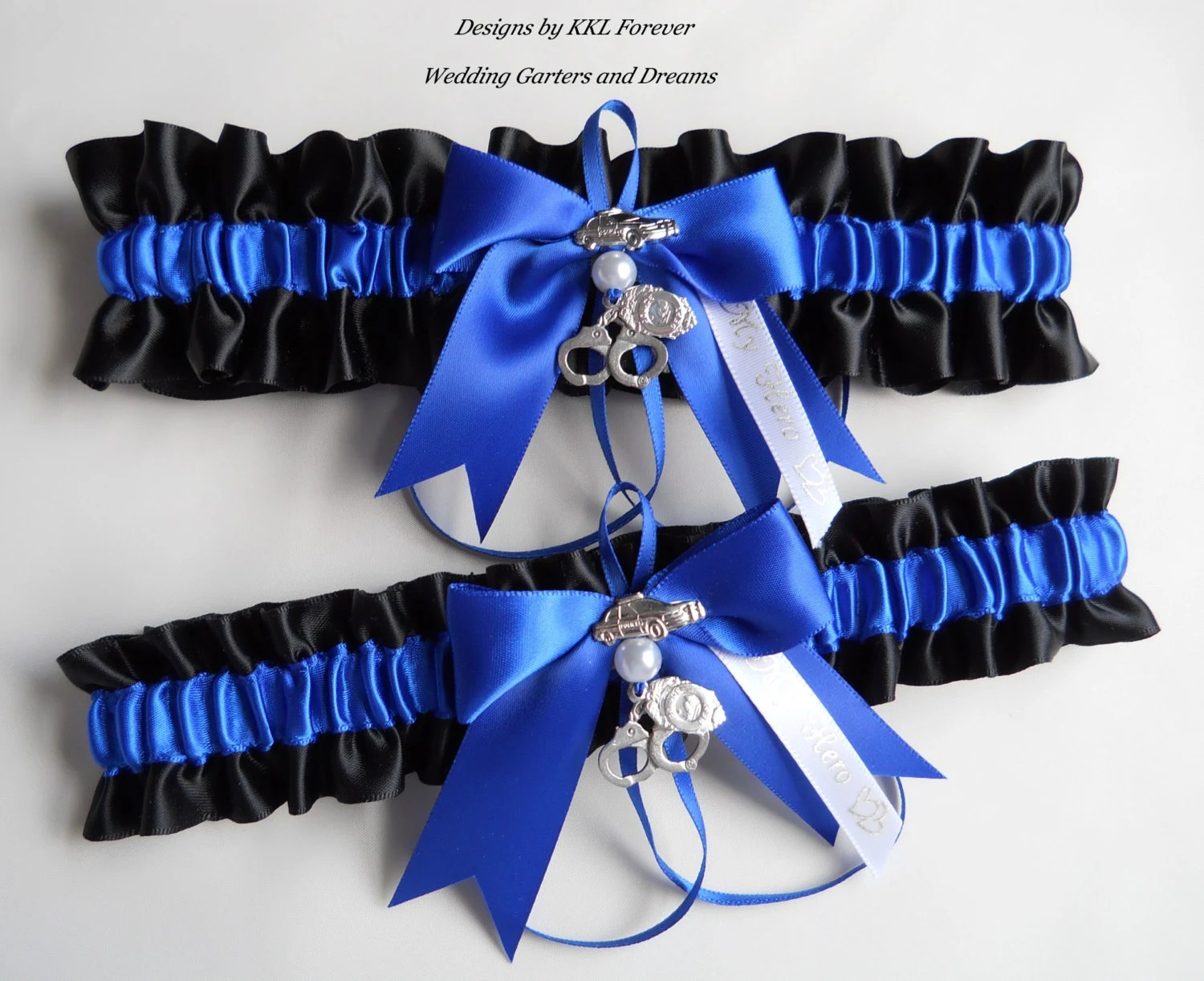 Police Officer Wedding Garters Thin Blue by ElegantGarterShop