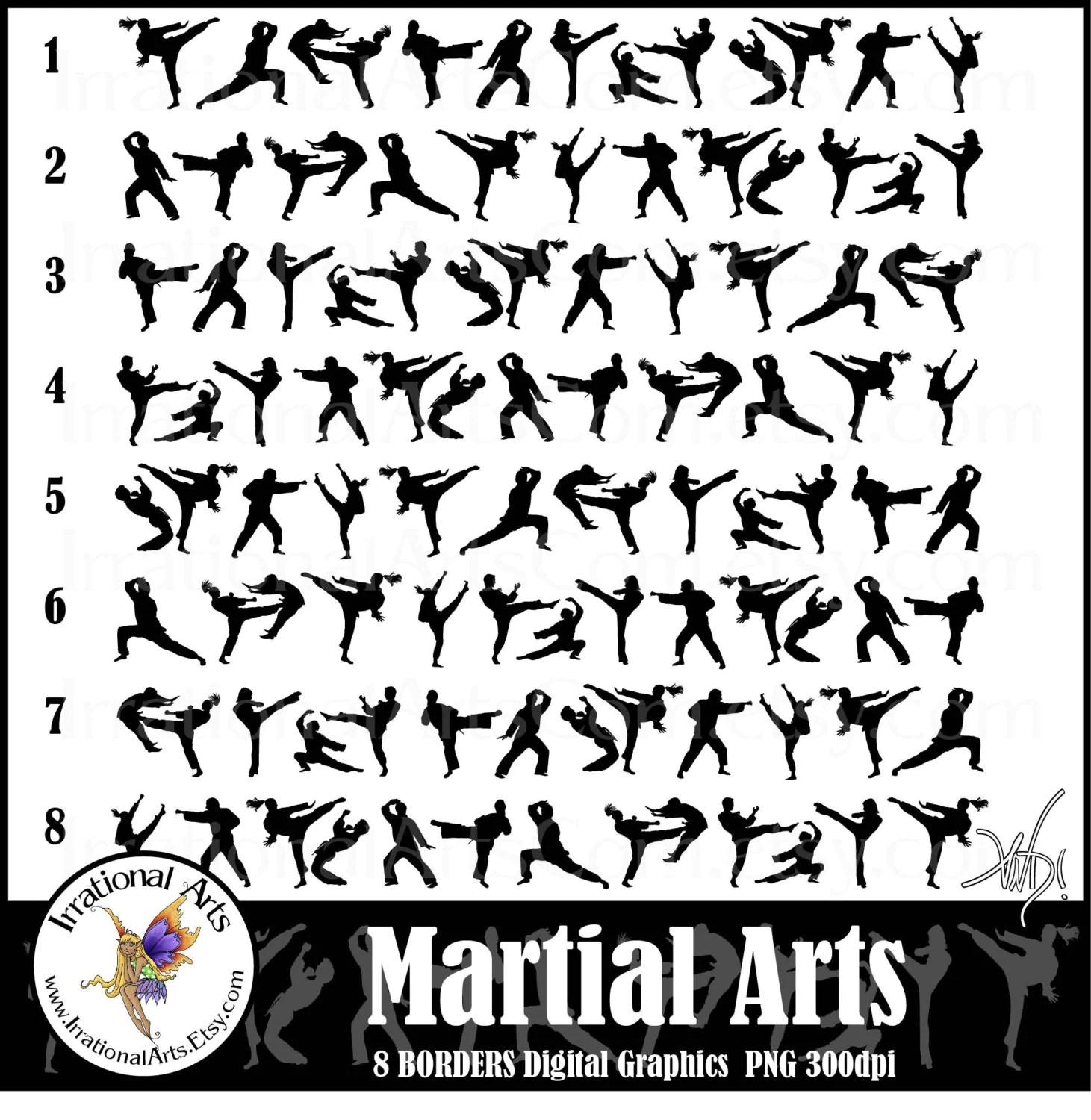 Martial Arts Borders Instant Download With 8 Digital Files
