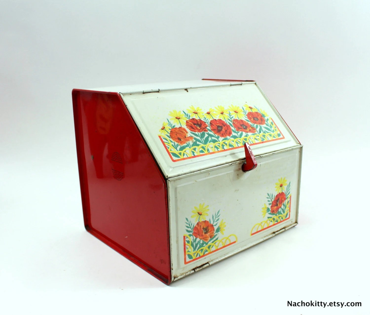 kitchen storage boxes counter height table set 1950s bread box organization office or by barnowlgoods