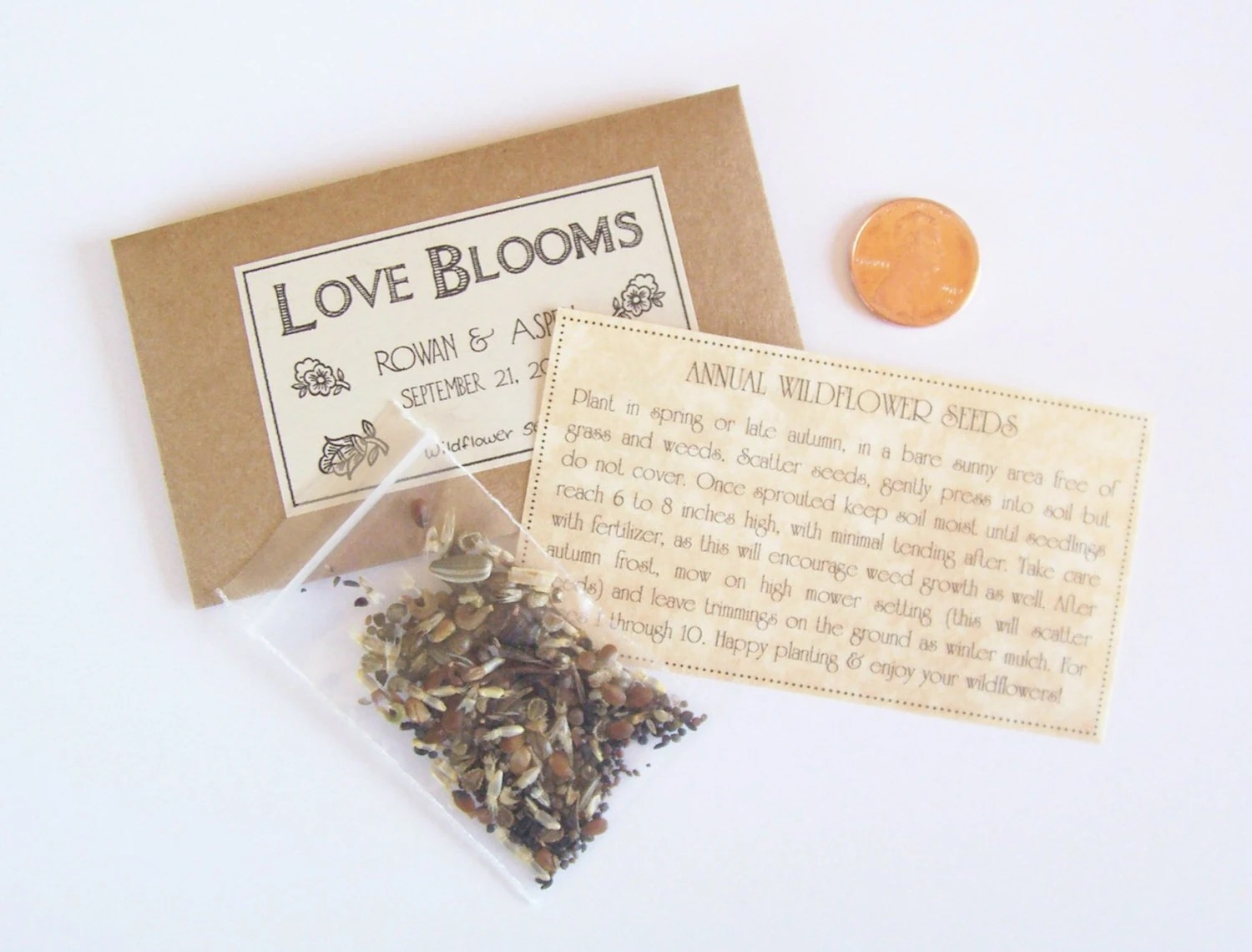 SAMPLE Wedding Favor Seeds Flower Seed Favor By