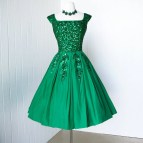 Vintage Emerald Green Cocktail Dress
