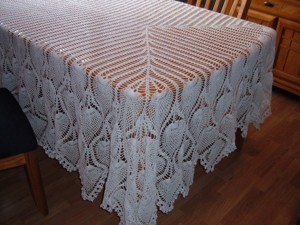 Crocheted White Pineapple Tablecloth Free Shipping Canada