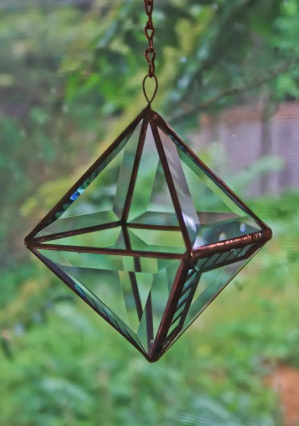 Unique Rustic Stained Glass Crystal Garden Terrarium