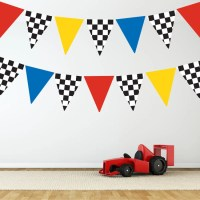 Race Car Flags Wall Decal Stickers Removable and by ...