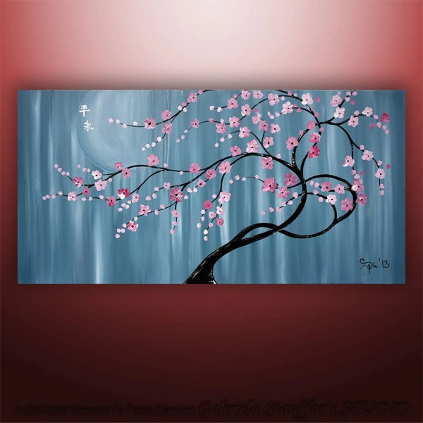 Cherry Blossom Tree Paintings Abstract