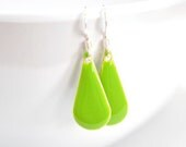 Lime Green Teardrop Earrings, Neon 80's Minimalist Sterling Silver Dangle, Spring Fashion Gift For Her - CCARIA