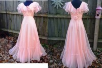 70s Prom Dress by JCP in Peach Chiffon Ruffles by ...