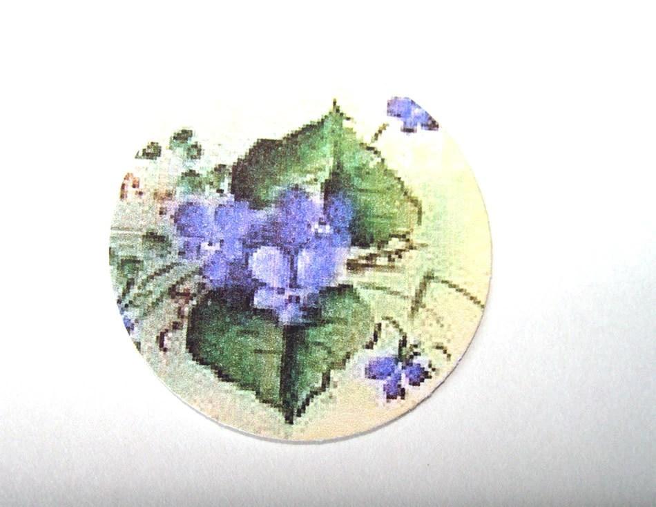 Violets Stickers or Envelope Seals Set of 30 Vintage Look Purple Flowers - SiriusFun