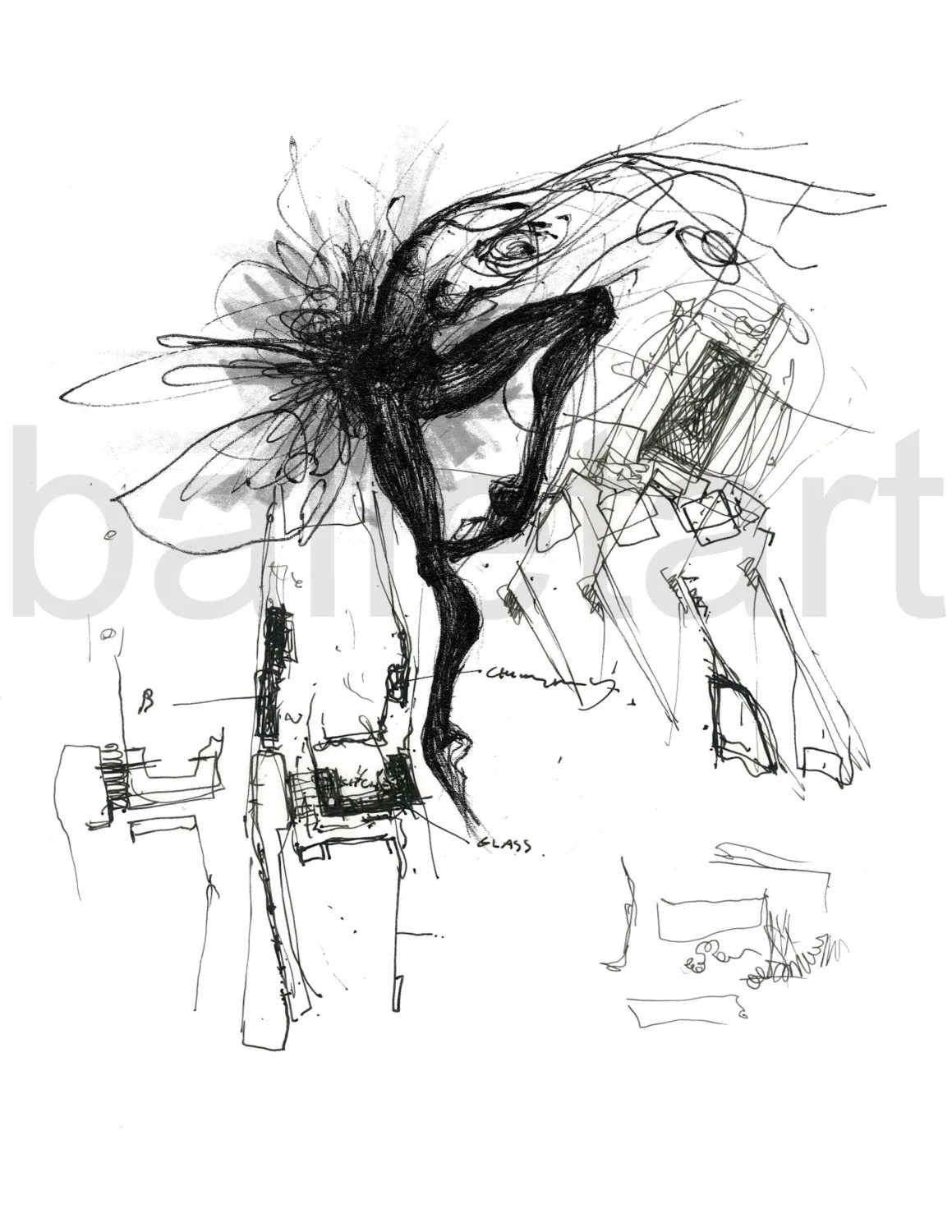 black and white swan engaged in schematic design ink by