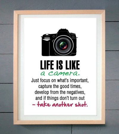 Life is like a camera ART PRINT various sizes by ...