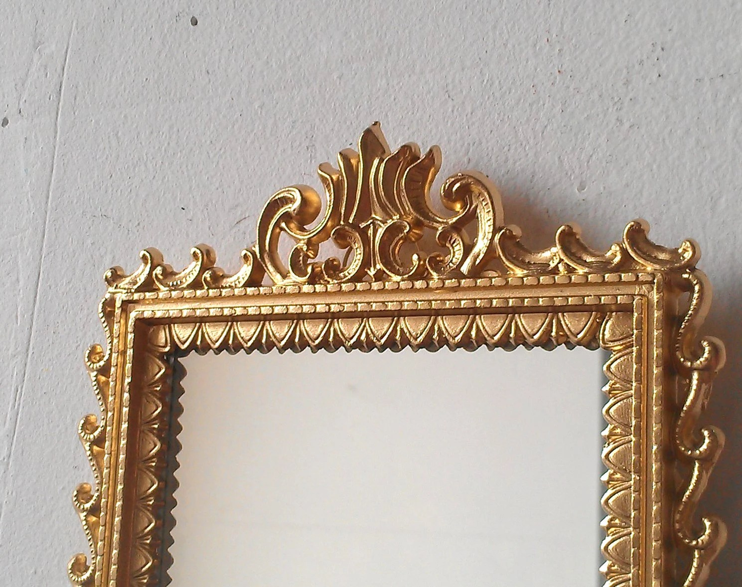 Small Gold Mirror In Vintage Brass Frame By