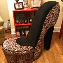 Leopard High Heel Chair Children S Couch And Items Similar To Shoe Black On Etsy