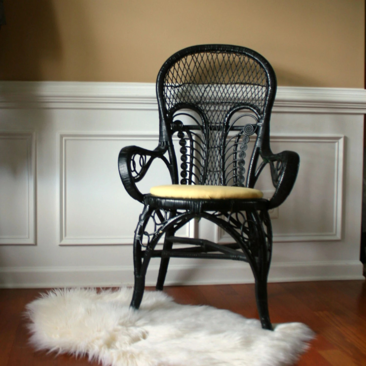 Vintage Rattan Chairs Vintage Modern Rattan Arm Chair Black Chinoiserie Accent Desk