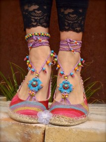 Purple Barefoot Sandals Summer Crochet Colorful Beaded