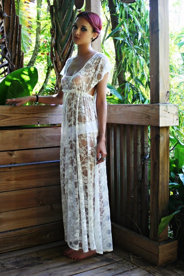 Sheer Lace Bridal Nightgown Lingerie Wedding Trousseau Ivory