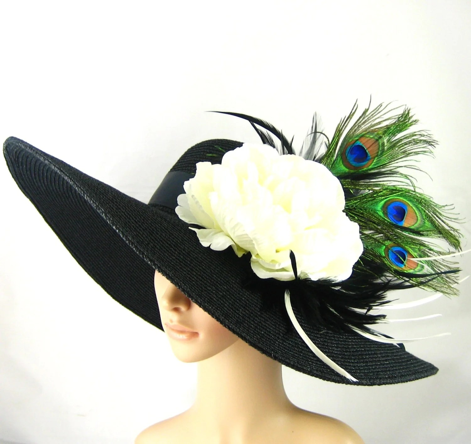 Kentucky Derby Hat with Peacock Feathers Derby by theoriginaltree