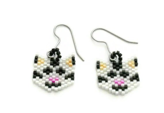 Items similar to Beaded Cat Earrings Made With Delica