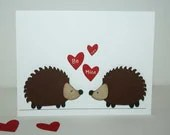 Valentine Card - Hedgeghog themed Valentine's day card / greeting card - JillyBearDesigns