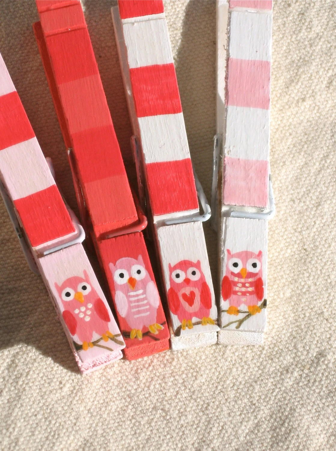 PINK OWLS hand painted magnetic clothespins