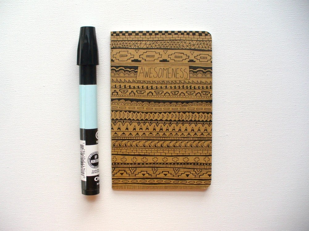 illustrated moleskine notebook, journal - awesomeness, tribal pattern, southwest - MessyBedStudio