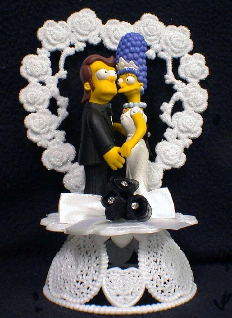 Homer Amp Marge Simpsons Wedding Cake Topper LOT Glasses Knife