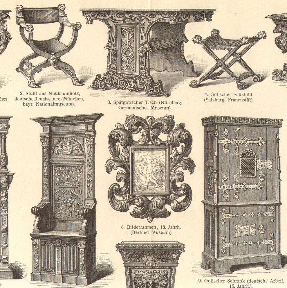 1905 original antique engraving of furnitures rococo for Haute renaissance