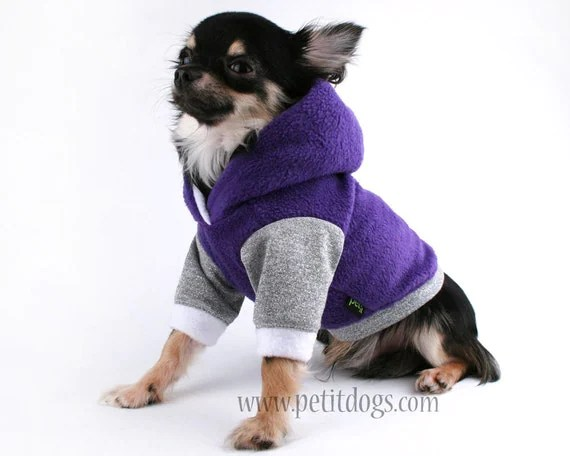 Dog Clothes XXS cute teacup Purple and Silver chihuahua hoodie