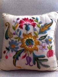 Vintage Crewel Work Pillow Flower Power