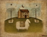 Log Cabin Sheep Primitive Folk Art 8.5 x11 Download